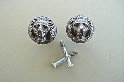 A Pair Of Antique Style Lions Head Iron Furniture Knob Drawer Door Handle Wh45