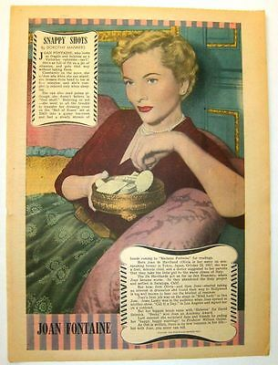 1950 - JOAN FONTAINE - Snappy Shots by Dorothy Manners (framable)