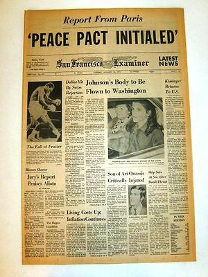 Jan 23, 1973 -SF Examiner - PEACE PACT INITIALED -=- JOHNSON'S BODY to Fly to DC