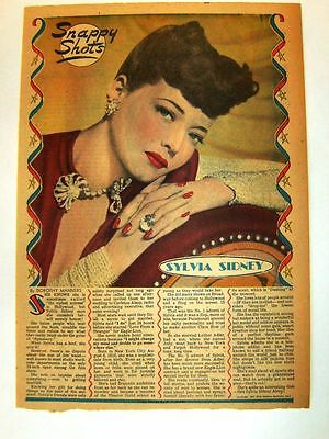 1947 - SYLVIA SIDNEY - Snappy Shots by Dorothy Manners - framable