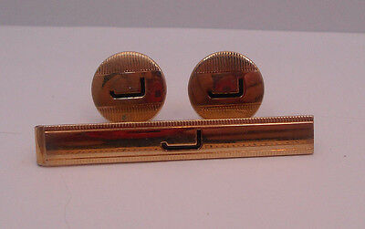 """Vintage Swank Letter Initial """"J """" Gold Tone Tie Bar And Cufflinks Set"""