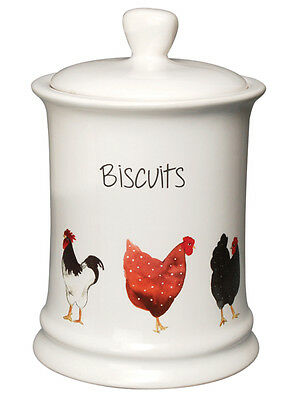 Pecking Order Hen Chicken Ceramic Biscuit Cookie Storage Canister Jar Container