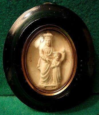 ST ANNE D'AURAY & VIRGIN MARY Antiq 19th Cent. MEERSCHAUM PLAQUE - WOOD FRAME