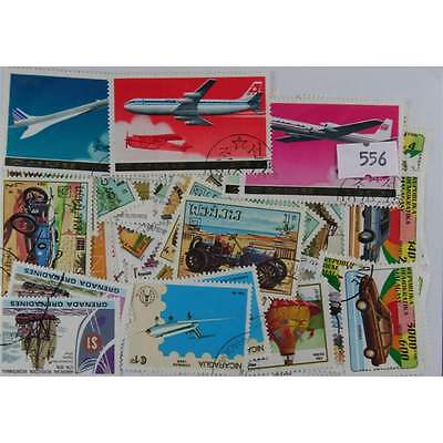100 Transport : Aircraft, ships and trains stamps.(556)