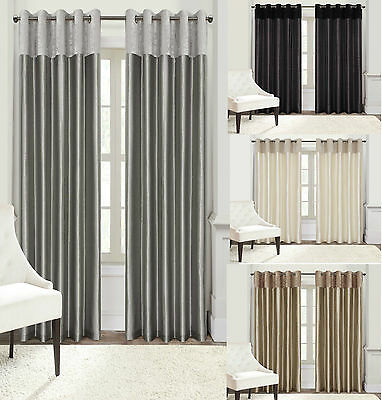 Plush Faux Velvet Eyelet Ring Top Ready Made Lined Curtains