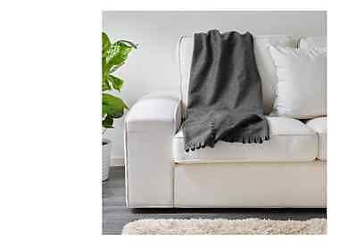 IKEA POLARVIDE Polar Fleece THROW Blanket RUG Grey 170 x 130cm –NEW