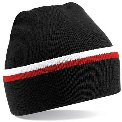 c17d5fbe224 Black White Red Woolly Beanie Hat In Brentford FC Team Colours - One Size
