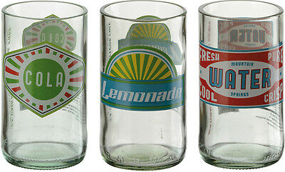 Artland Set of 3 Hi Ball Tumbler Assorted Retro Glass Bottles Design New