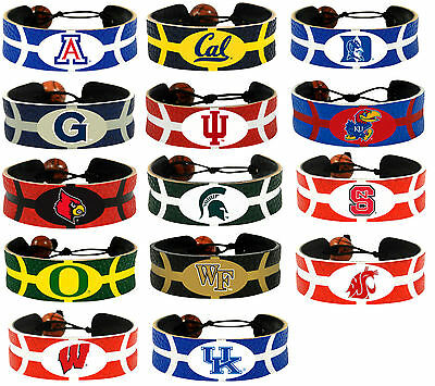 leather basketball bracelet NCAA PICK YOUR TEAM gamewear team color