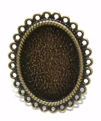 5 Antique Bronze Oval Cabochon Ring Blanks Bases Filigree Cameo Vintage Ring 9