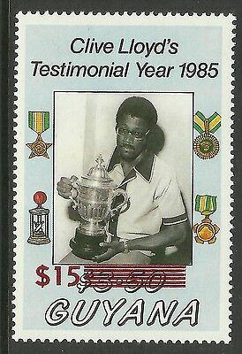 GUYANA 1986 CRICKET CLIVE LLOYD $15 SURCHARGE on $3.50 Value MNH **SCARCE**