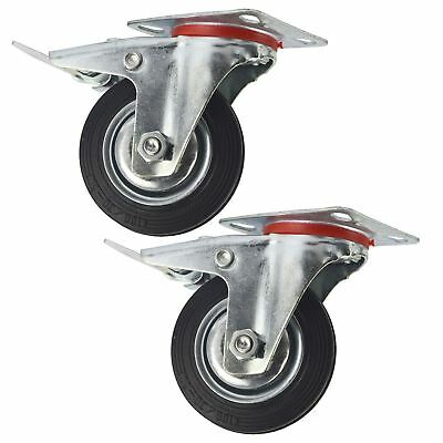 """4"""" (100mm) Rubber Swivel With Brake Castor Wheels Trolley Caster (2 Pack) CST0"""