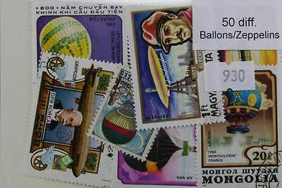 Balloons & Zeppelins. 50 stamps, All different. (930)