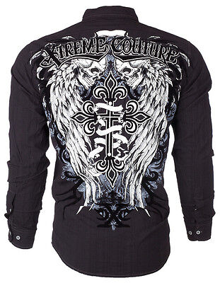 Xtreme Couture AFFLICTION Mens BUTTON DOWN Shirt KINGS FALL Skulls UFC Roar $78