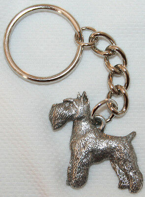 SCHNAUZER Dog Fine Pewter Keychain Key Chain Ring Fob