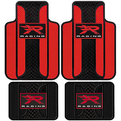 4 Piece R Racing Velocity Red Front And Rear Rubber Floor Mats Unversal