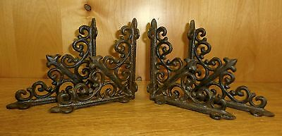 "4 BROWN ANTIQUE-STYLE 5.5"" SHELF BRACKETS CAST IRON garden rustic fleur ARROW"