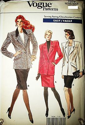 Miss MP Vogue 7076 Sewing Pattern Jacket & Pencil Skirt Size 6-8-10 OOP