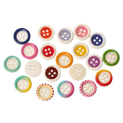 100PCs Mixed Wooden Sewing Buttons Circular Concave Pattern Scrapbooking Hot