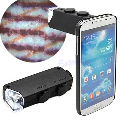 Microscope Magnifier Handheld 60X-100X LED Lighted Glass Lens Jeweler Loupe Mini