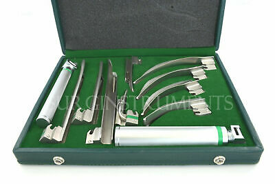 Fiber Optic Macintosh & Miller Combo Laryngoscope Set 9 Blades 2 Handles