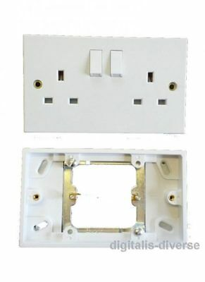 Single To Double Switched 13 Amp Mains Plug Socket Converter 1 Gang To 2 Gang
