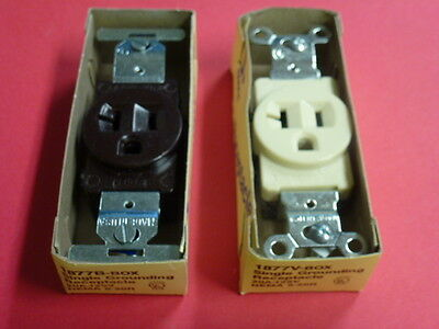 NOS! Lot of (10) EAGLE SINGLE RECEPTACLE 20A-125V, GROUNDING #1877 BROWN / IVORY