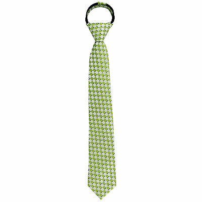New Kids Boys Zipper Adjustable Pre-tied Necktie Green plaid Checkers formal