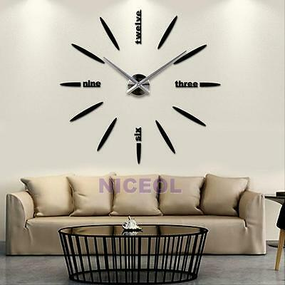 Novelty DIY Large Wall Clock 3D Mirror Sticker Home Office Decor Unique Gift