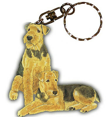 Airedale Wooden Keychain