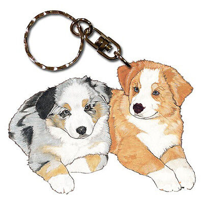 Australian Shepherd Wooden Dog Breed Keychain Key Ring