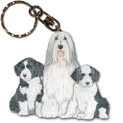 Bearded Collie Wooden Keychain