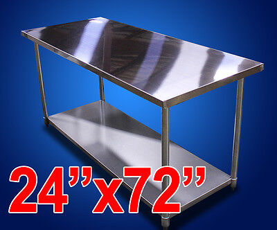 "New Commercial Kitchen Restaurant Stainless Steel Prep Work Table - 24""x72"" NSF"