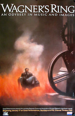 """Wagner's Ring Original 1983 Pbs Exxon Poster 46"""" X 30"""" Rolled Mint"""