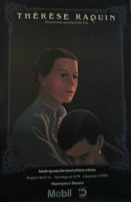 """Therese Raquin Original 1980 Pbs Masterpiece Theatre Poster 46"""" X 30"""" Mint"""
