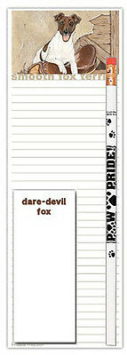 Fox Terrier Dog Notepads To Do List Pad Pencil Gift Set