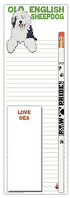Old English Sheepdog Dog Notepads To Do List Pad Pencil Gift Set