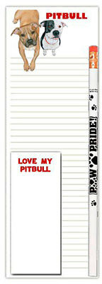 Pitbull Dog Notepads To Do List Pad Pencil Gift Set
