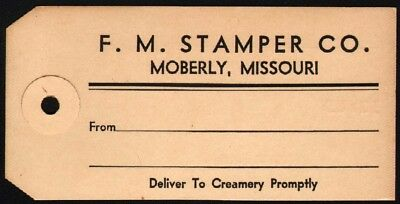 Vintage cream can tag F M STAMPER CO from Moberly Missouri new old stock n-mint