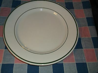 "ksm. New Possibly Sample Buffalo China Plate Two Green Lines 9 3/4"" Wide"