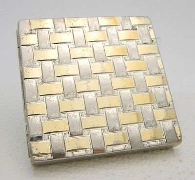 VTG Art Deco CHARLES OF THE RITZ Powder Makeup Compact Gold Silver Basket Weave