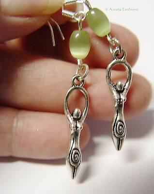 GODDESS EARRINGS 925 STERLING SILVER HOOKS Wicca Witch Pagan Goth