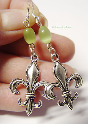 FLEUR DE LIS EARRINGS 925 STERLING SILVER HOOKS Wicca Witch Pagan Goth