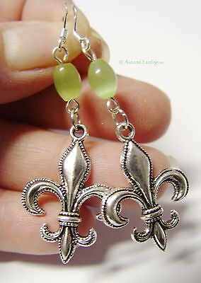 FLUER DE LIS EARRINGS 925 STERLING SILVER HOOKS Wicca Witch Pagan Goth