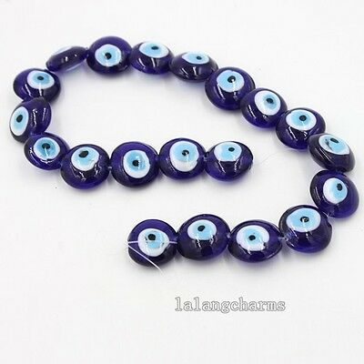 1string Unique Design Purple Oblate Evil Eye Lampwork Glass Charms Beads LC