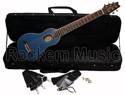 Washburn R010 Rover 6 String Right Handed Acoustic Travel Guitar Hardcase BLUE