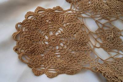 Antique Fancy Crochet Lace Tray Doily Pineapple Medallions 18""