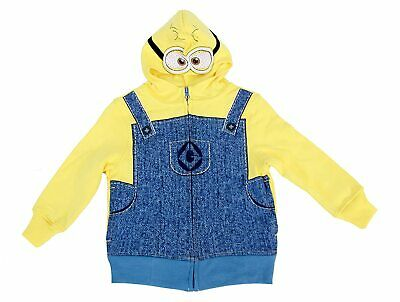 Child Cartoon Movie Despicable Me Minion Yellow Zip Up Costume Sweatshirt