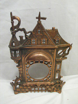 Vintage Golden Novelty Mfg Cast Iron Picture Frame Clock Front Chateau