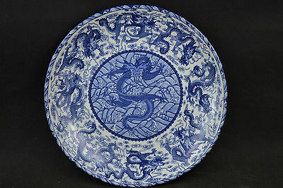 China Rare Old Jingdezhen Porcelain Painting Beauty Fly Dragon Usable Big Plate